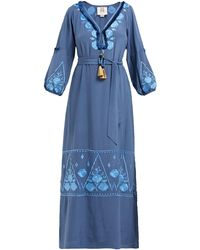 Figue Lola Floral-embroidered Silk-crepe Dress - Blue