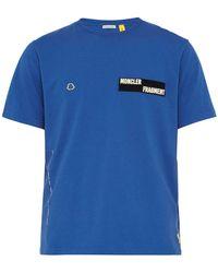 7 MONCLER FRAGMENT パイルアンドフックパッチ コットンtシャツ - ブルー