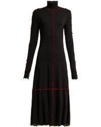 Proenza Schouler Ruffle Trimmed Jersey Midi Dress - Black