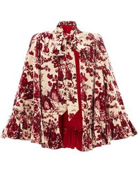 The Vampire's Wife The Crusader Toile De Jouy Cotton-velvet Cape - Red