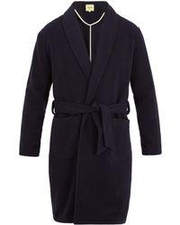De Bonne Facture Shawl-lapel Wool Coat - Blue