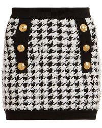 Balmain Houndstooth Mini Skirt - Black