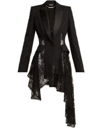 Alexander McQueen - Single-breasted Lace-panel Wool-blend Blazer - Lyst