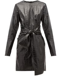 MSGM Crocodile-effect Faux Leather Mini Dress - Black
