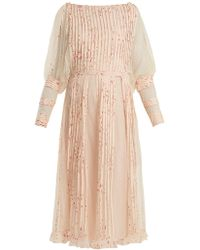RED Valentino - Pleated Tulle Floral-print Midi Dress - Lyst