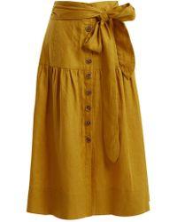 Sea - Elsie Tie-waist Linen Midi Skirt - Lyst