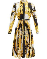Versace Baroque-print Pleated Twill Shirt Dress - Yellow