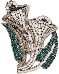 Rochas - Crystal-embellished Lily Brooch - Lyst