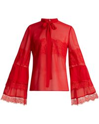 Giambattista Valli - Tie-neck Lace-trimmed Silk-georgette Blouse - Lyst