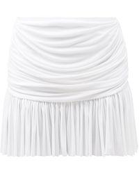 Norma Kamali リッチー シャーリング ミニスカート - ホワイト