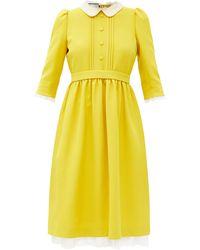 Gucci レーストリム シルクウールクレープ ドレス - イエロー