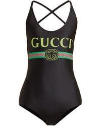Gucci ロゴプリント ボディスーツ - ブラック