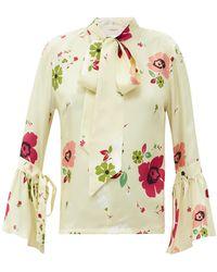 La DoubleJ Happy Wrist Bell-sleeve Floral-print Silk Blouse - Multicolour