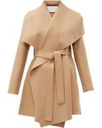Harris Wharf London Draped Collar Pressed Wool Blanket Coat - Natural