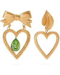 Rodarte - Gold-plated Dangle Heart Earrings - Lyst