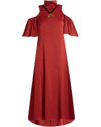Ellery Robe en satin mat à épaules dénudées Deity - Rouge