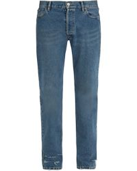 Balenciaga Jean droit effet vieilli - Bleu