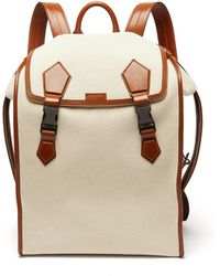 Dolce & Gabbana Leather-trimmed Canvas Backpack - Natural