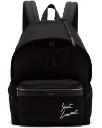 Saint Laurent - City Logo Embroidered Canvas Backpack - Lyst