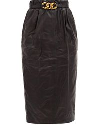 N°21 Chain-belt Leather Pencil Skirt - Black