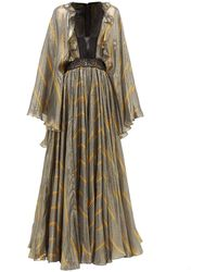 Giambattista Valli Geometric Print Lace And Silk Blend Gown - Multicolor