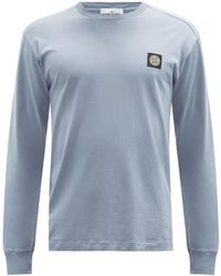 Stone Island - Logo-patch Cotton-jersey Long-sleeved T-shirt - Lyst