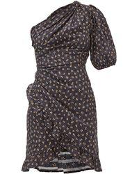 Étoile Isabel Marant Robe courte en voile de coton à pois Esthera - Noir