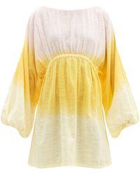 Anaak Sofia Dip-dyed Cotton Dress - Yellow