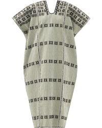 Pippa Holt No.268 Embroidered Striped Cotton Kaftan - Multicolour