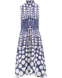 Charles Jeffrey LOVERBOY ポルカドット ノースリーブ リネンシャツドレス - ブルー