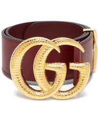 Gucci GG Snakeskin-effect Logo Wide Leather Belt - Multicolour