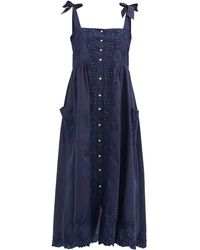 Juliet Dunn Floral-embroidered Shoulder-ties Cotton Midi Dress - Blue
