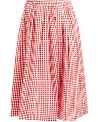 Comme des Garçons Gingham Cotton Midi Skirt