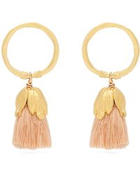 Elise Tsikis - Oxya Gold-plated Tassel Hoop Earrings - Lyst