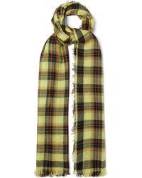 Loewe アナグラム チェック カシミアスカーフ - グリーン