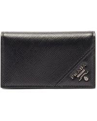 Prada Bi-fold Saffiano-leather Wallet - Black