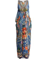 Camilla - Faraway Florals Hand Painted Silk Kaftan - Lyst