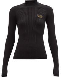 Versace ロゴ リブウールセーター - ブラック