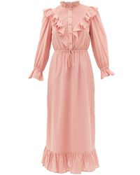 Sea Clara Ruffle-bib Cotton Dress - Pink