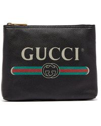 Gucci - Logo-print Small Leather Pouch - Lyst