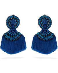 Etro - Crystal-embellished Fringed Clip-on Earrings - Lyst