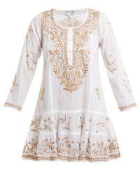 Juliet Dunn - - Metallic Embroidered Cotton Kaftan - Womens - White Multi - Lyst