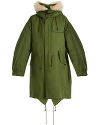 CALVIN KLEIN 205W39NYC - Oversized Shearling-hood Cotton-blend Parka - Lyst