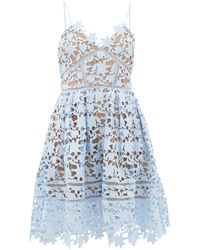 Self-Portrait Azalea Floral Guipure-lace Dress - Blue