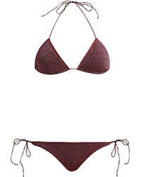Oséree Lumière Metallic Triangle Bikini - Red