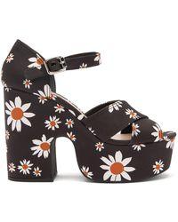 Miu Miu Gabardine Daisy Platform Sandals - Black