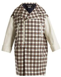 Junya Watanabe - Leather-trimmed Hound's-tooth Wool-blend Coat - Lyst