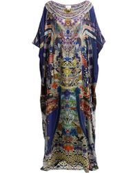 Camilla Darling's Destiny Print Silk Charmeuse Kaftan - Blue