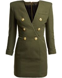 Balmain - Double-breasted Cotton-canvas Dress - Lyst
