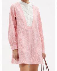 Thierry Colson ヴィクトリア ストライプ コットンサテンシャツドレス - ピンク